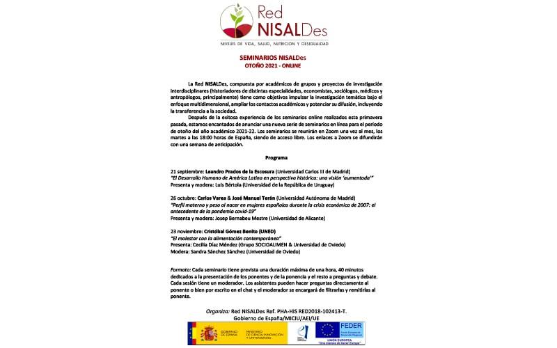 SEMINARIOS NISALDes OTOÑO 2021 - ONLINE